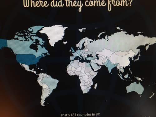 The countries from visitors to my blog. Darker, more frequent visits...
