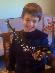 Jaden and his Lego piece