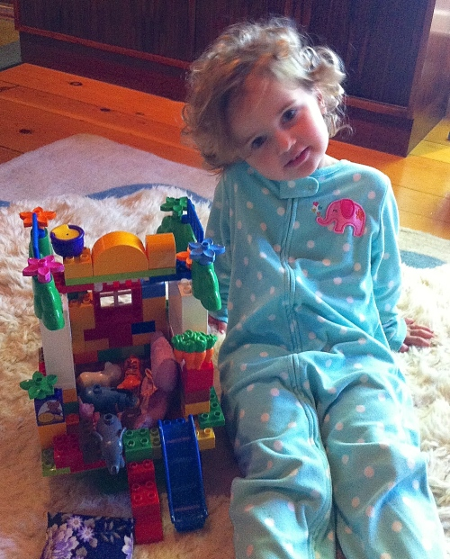 Oona and her Duplo house (junior Legos)
