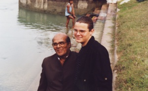 Solomon and JugdishMohen, his drum teacher, by the Ganges when he was 15.