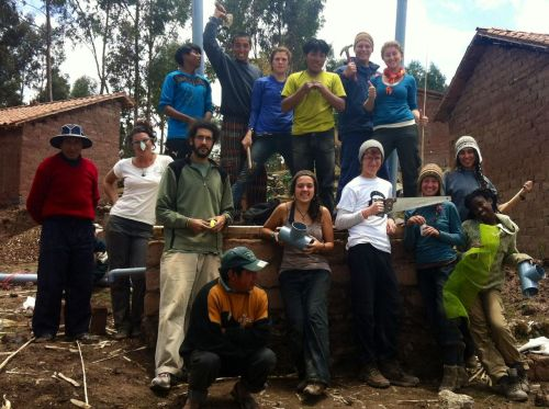 November in Peru.  The group spent two days building composting toilets for a small Andean community of Huayllacocha.   Before building, they first we had to ask permission and make an offering to Pachamama (Mother Earth) in a traditional ceremony led by their new friends from the Highlands.