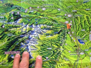 Map showing CloudPeak Wilderness area and the orange mark is us...