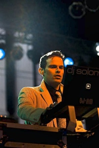 Solomon DJ'ing the Black 'n White Ball, SF.